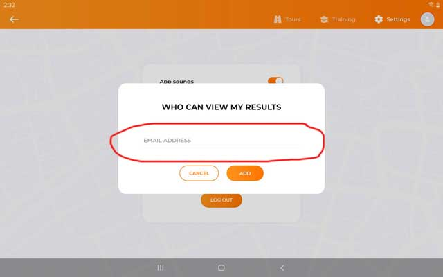 Entering email address of who can view your results (Drive Focus Android)